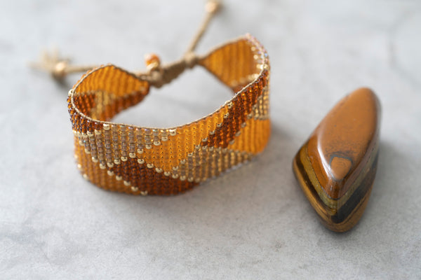 A Beautiful Story Willow Tiger Eye Gold Bracelet