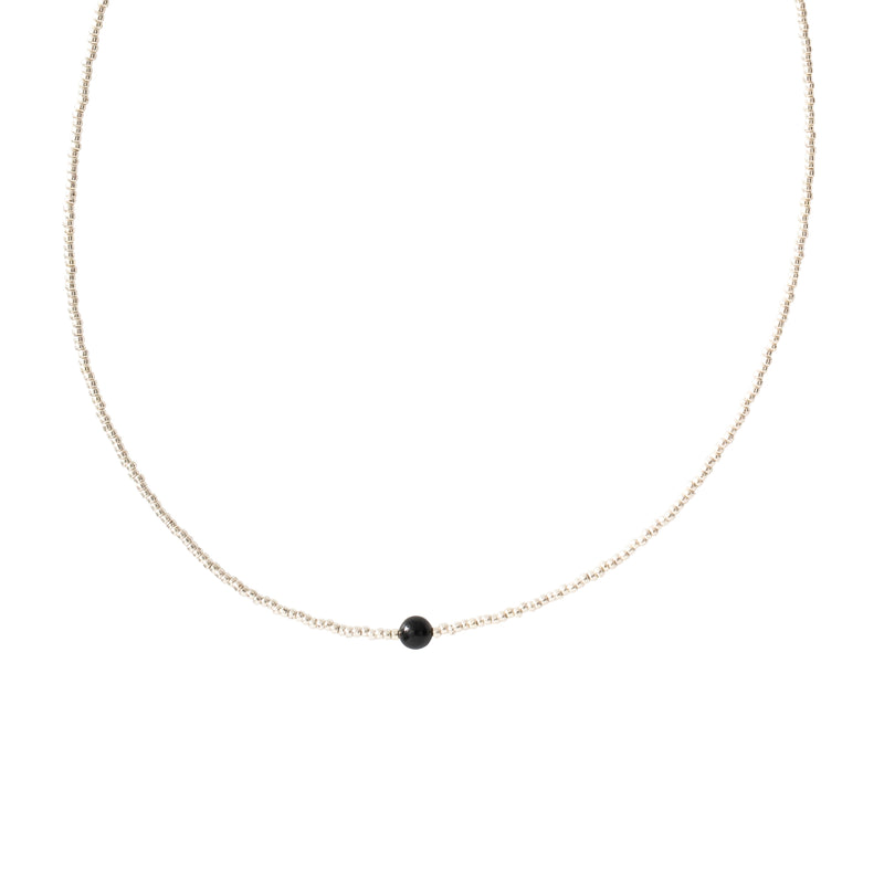 Black Onyx Silver Necklace | Sustainable jewelry