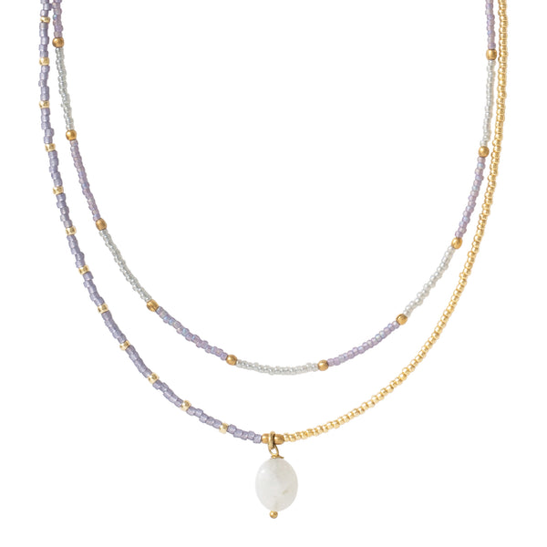A Beautiful Story Rainbow Moonstone Gold Necklace