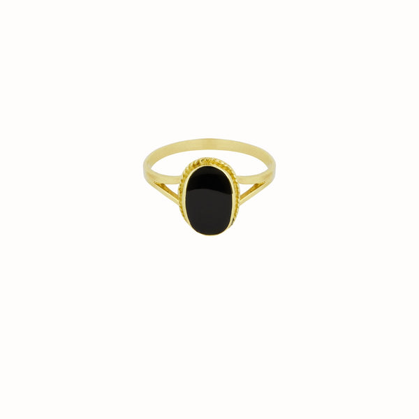 Flawed Oval Souvenir Ring Black