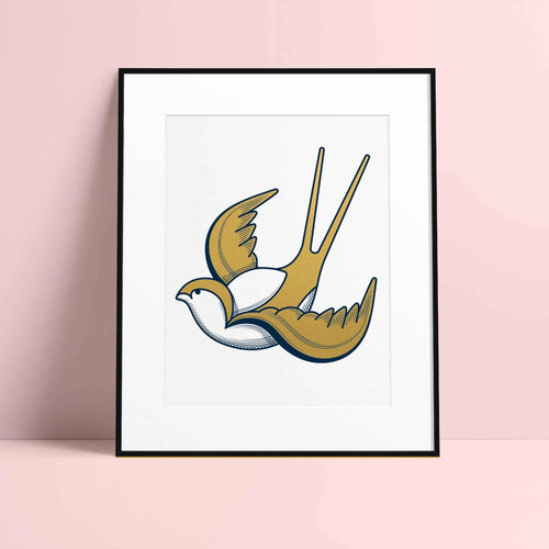 Framed Swallow Print (Limited Edition) by Rob Bartlett - Purpledaisy At Home