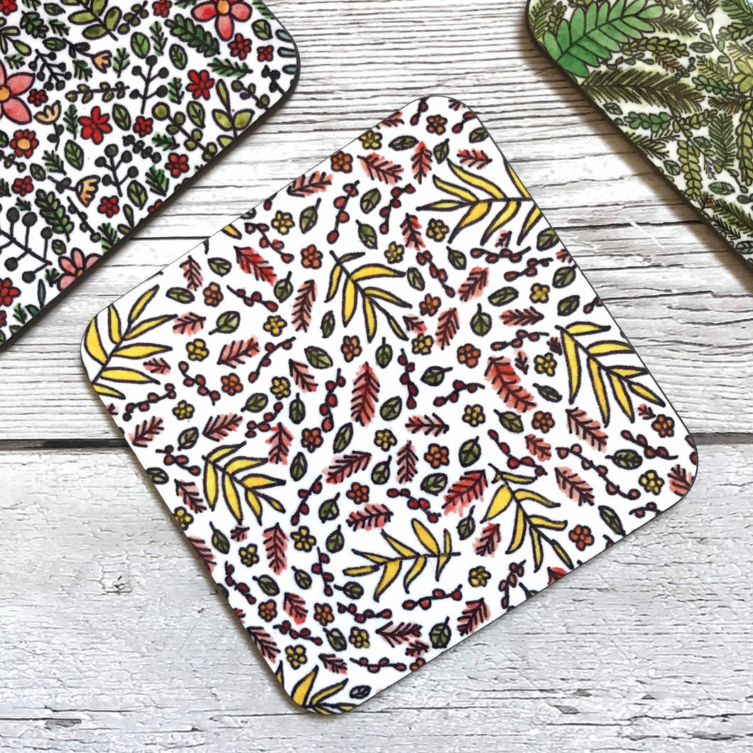 Leaf pattern coasters of varying designs
