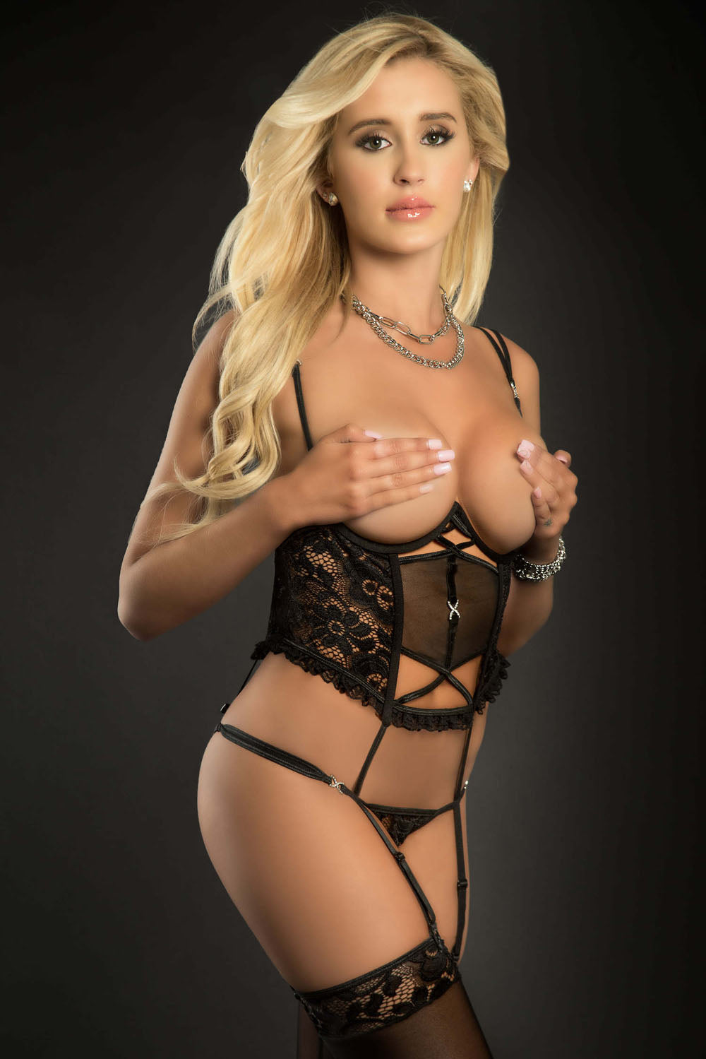 2pc Teddy Corset With Open Cups and Open Crotch - One Size - Black - G-World -  Los Angeles Lingerie