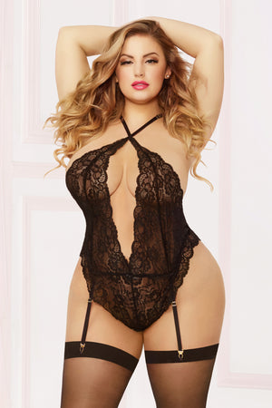Lace Teddy W/garters & Thigh High - Queen Size - Black - Sexy Bedroom Lingerie