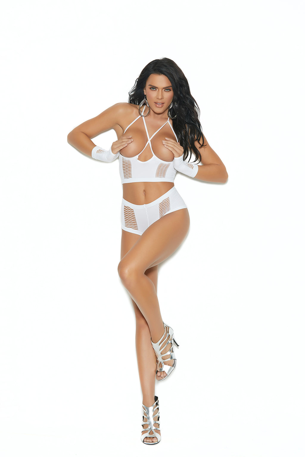 Cami Top, Booty Shorts, and Gloves - One Size -  White - Elegant Moments -  Los Angeles Lingerie