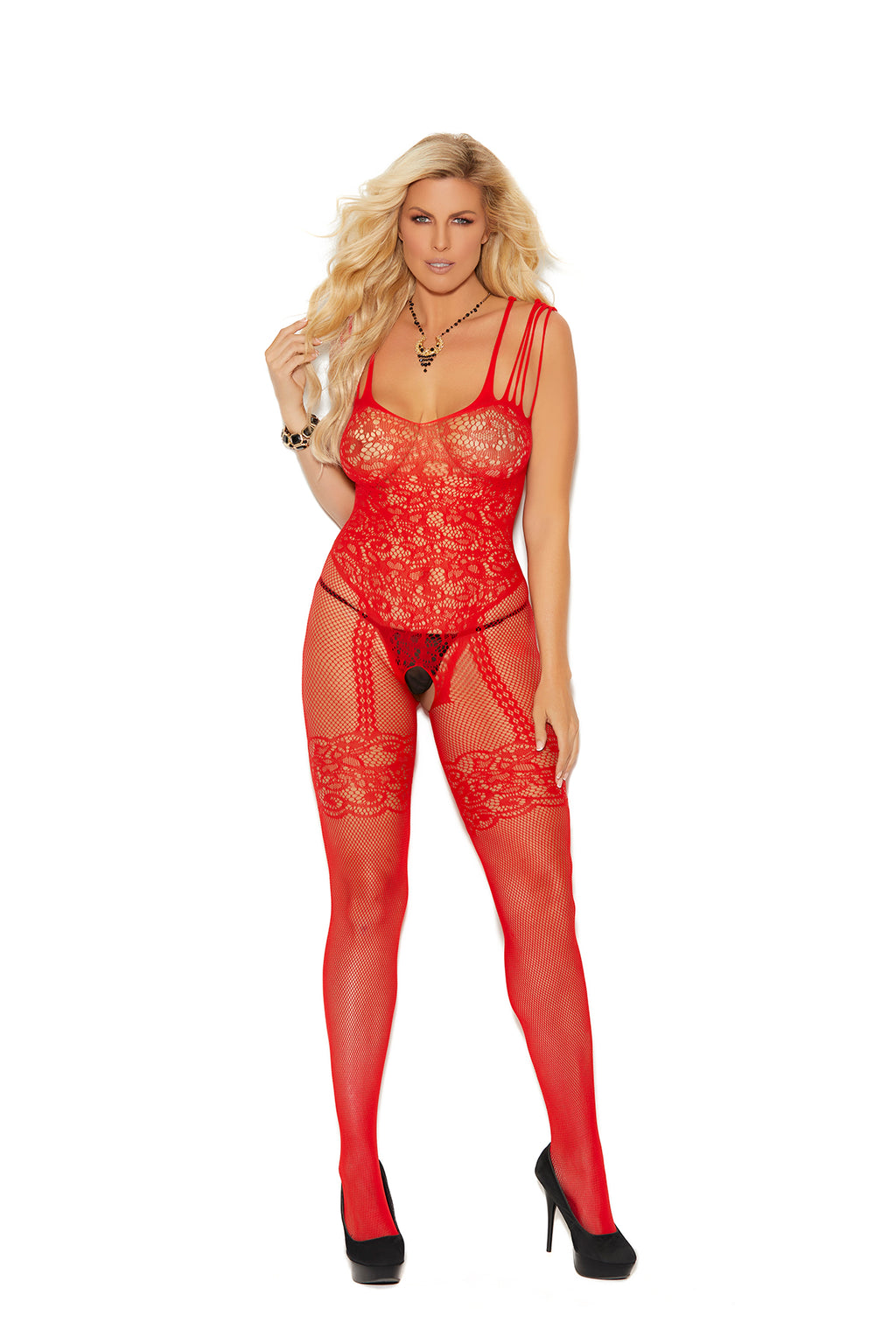 Fishnet and Lace Bodystocking With Open Crotch - Queen Size - Red - Elegant Moments -  Los Angeles Lingerie