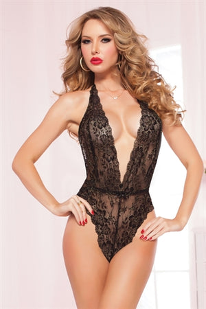 Floral Lace Teddy  - One Size - Black - Sexy Bedroom Lingerie