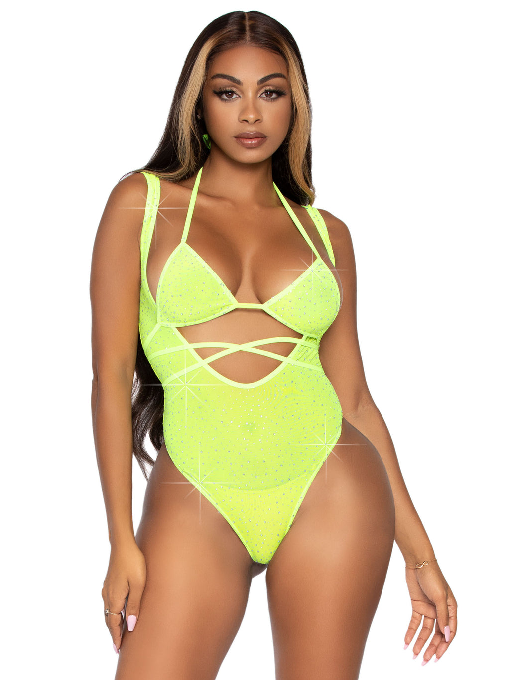2 Pc. Rhinestone Wrap Around Bikini Top and Suspender Body Suit - One Size - Neon Yellow - Leg Avenue -  Los Angeles Lingerie