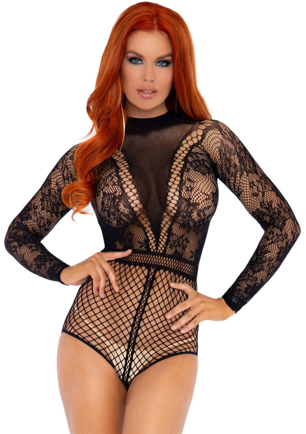 Lace and Fishnet Bodysuit - One Size - Black - Leg Avenue -  Los Angeles Lingerie