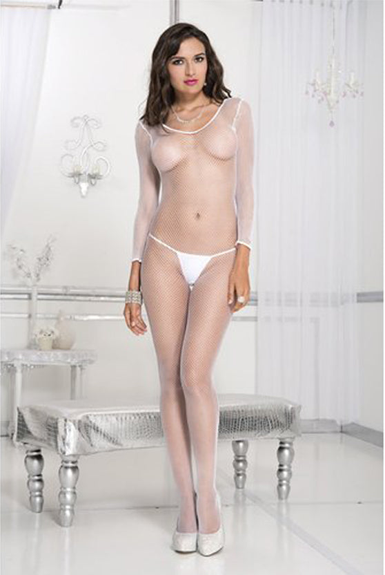 Seamless Long Sleeve Fishnet Crotchless Bodystocking - One Size - White - Music Legs -  Los Angeles Lingerie