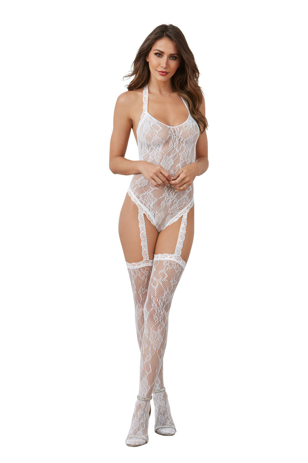 Teddy Bodystocking - White - One Size - Dreamgirl -  Los Angeles Lingerie