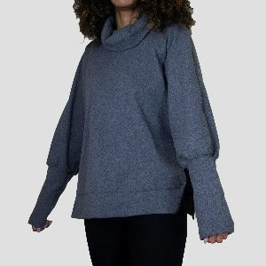 Grey turtleneck pullover sweater