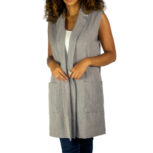 grey vest with two large pockets and paired with a black loop belt