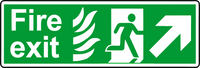 NHS fire exit diagonal right sign