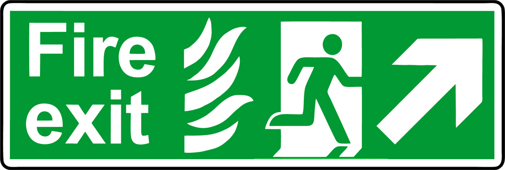 Double Sided Hanging NHS Fire exit diagonal sign