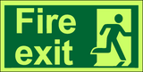 Fire exit right photoluminescent sign