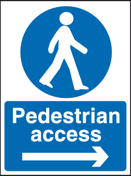 Pedestrian Access Sign Arrow Right Site Safety Safety Sign