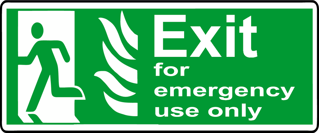 Exit for emergency use only left NHS sign