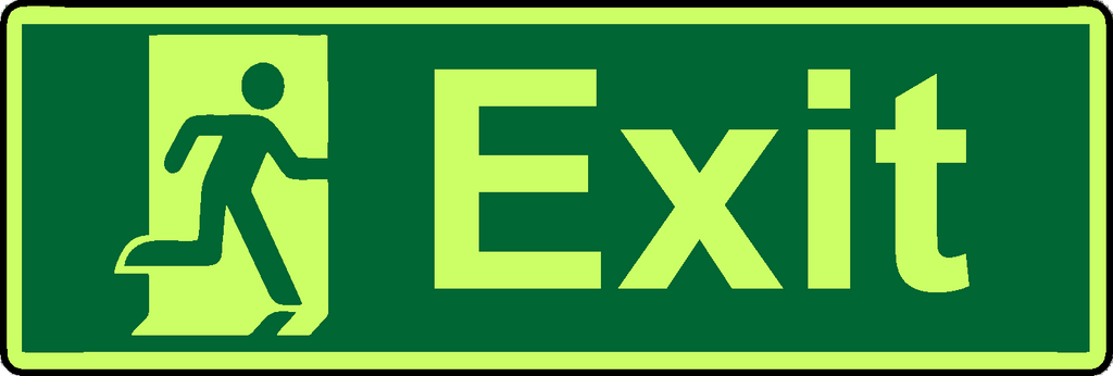Exit symbol photoluminescent sign