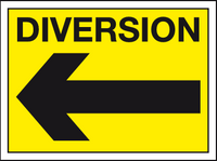 Diversion left sign