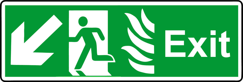 NHS exit down diagonal left sign