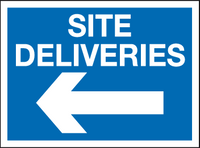 Site deliveries left sign