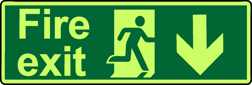 Fire exit down double sided hanging photoluminescent sign