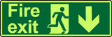 Fire exit down double sided photoluminesecent sign