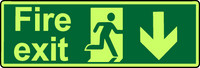 Fire exit down photoluminescent sign