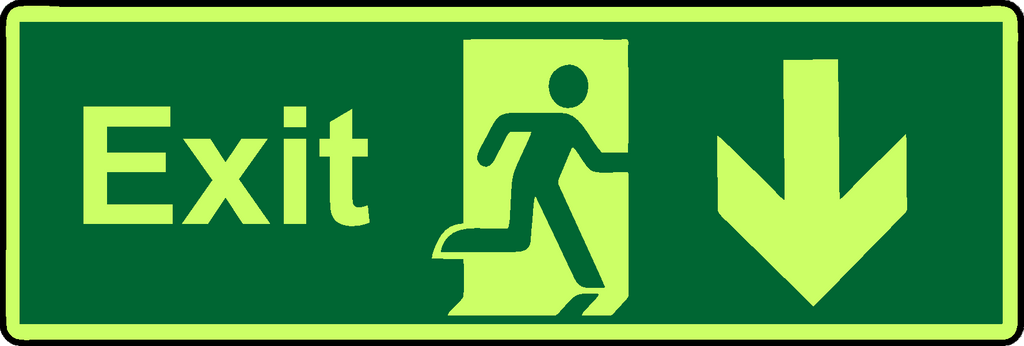Exit down photoluminescent sign