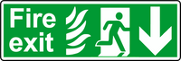 NHS fire exit down sign