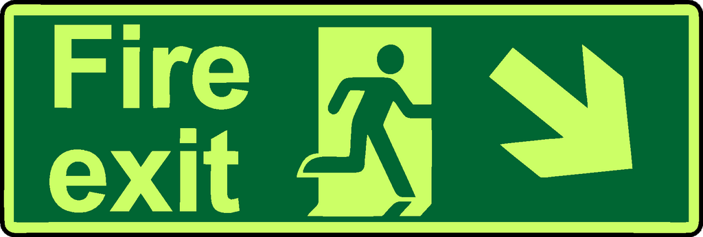 Fire exit diagonal down right photoluminescent sign