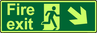 Fire exit diagonal down left photoluminescent sign
