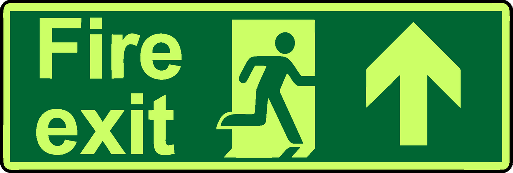 Fire exit straight ahead double sided hanging photoluminescent sign