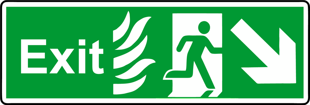 Double Sided Hanging NHS Exit diagonal down sign