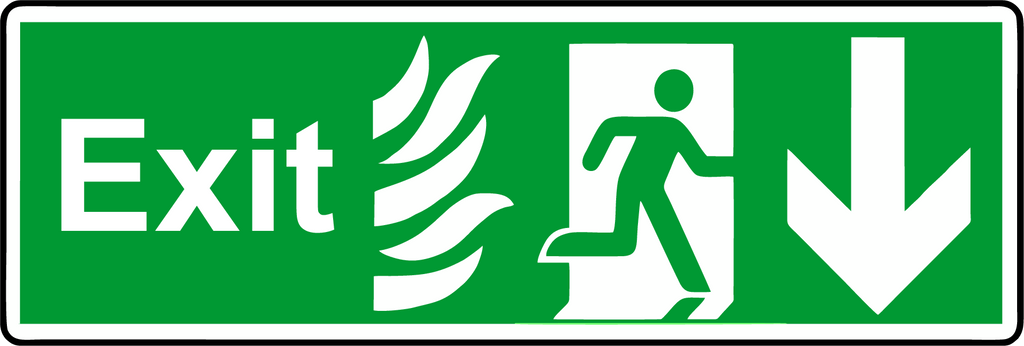 Double Sided Hanging NHS Exit down sign