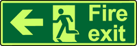 Photoluminescent fire exit sign double sided