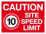 caution site speed limit 10