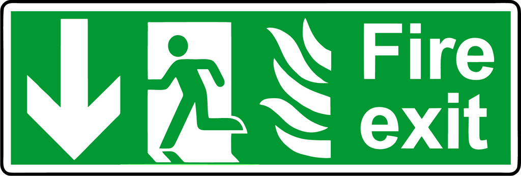 NHS Fire exit sign down