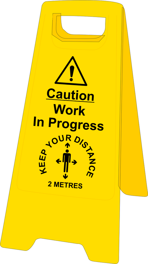 Caution work in progress keep your distance floor stand