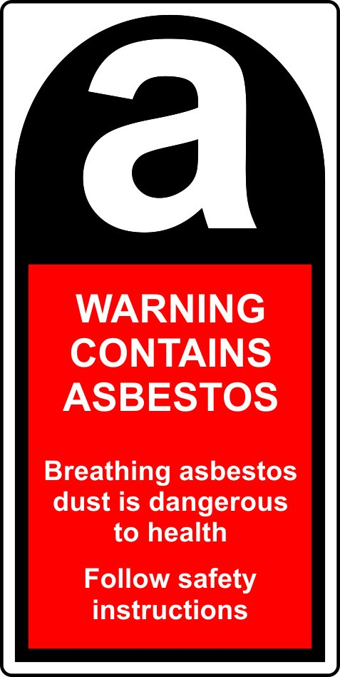 Roll of 500 Warning Contains Asbestos labels - 25 x 50mm