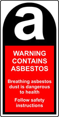 Warning Contains Asbestos labels 25 x 50mm