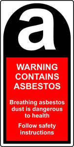 warning contains asbestos labels