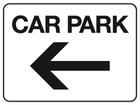 Car park - arrow left sign