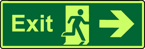 Exit right photoluminescent sign