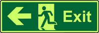 Exit left photoluminescent sign
