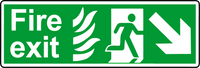 NHS fire exit diagonal down right sign