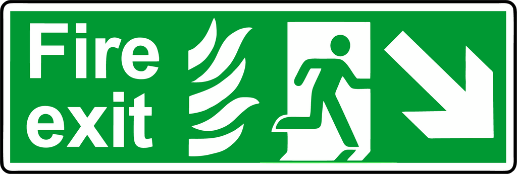 Double Sided Hanging NHS Fire exit diagonal down sign