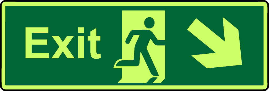 Exit diagonal down right photoluminescent sign