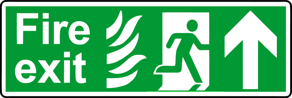 Double Sided Hanging NHS Fire exit straight ahead sign